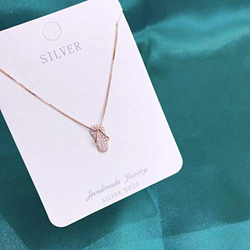 LAOGEFJ Halskette S925 Sterling Silber Halskette Weibliche Süße Hausschuhe Flip Flops Schlüsselbeinkette