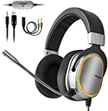Gaming Headset for PS4, Xbox One Controller, PC, 3.5mm Surround Stereo Over Ear Headphones with Noise Cancelling Microphone, LED Lights & Soft Memory Earmuffs for Laptop Mac Nintendo Switch