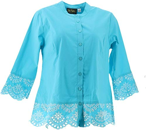 Bob Mackie Cutout Embroidered Peplum Button Front Shirt Turquoise S New A352088
