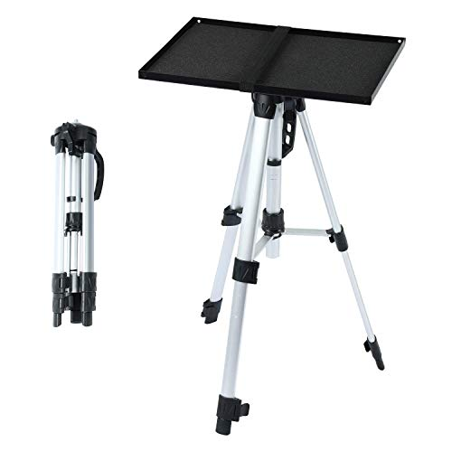Aluminum Tripod Projector Stand with Plate, Adjustable Laptop Stand, Adjustable Height 17'' to 46''