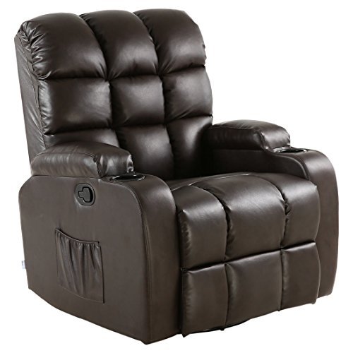 More4Homes (tm) REGAL 10 IN 1 RECLINER CHAIR ROCKING MASSAGE SWIVEL HEATED GAMING BONDED LEATHER ARMCHAIR (Brown)