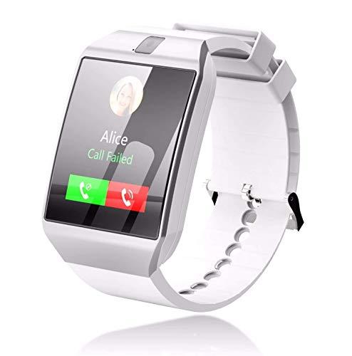 Reloj Inteligente Compatible con Apple iOS Samsung Android y Windows Bluetooth 4.0, multifunción, Salud, Deporte, música, Llamadas, SMS Agenda, Modelo 2018 Blanco