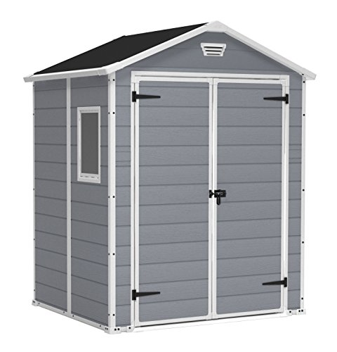 Keter Manor Outdoor Plastic Garden Storage Shed, Grey, 6 x 5 ft