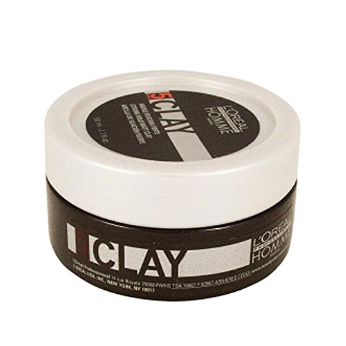 良心ネクタイスピーチロレアルプロフェッショナルのオム粘土 - 強力なホールド粘土(50ミリリットル) x4 - L'Or?al Professionnel Homme Clay ? Strong Hold Clay (50ml) (Pack of 4) [並行輸入品]