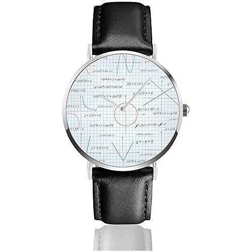 Mathematik Papier Hintergrund Lederarmband Armbanduhren Edelstahl Quarzuhr
