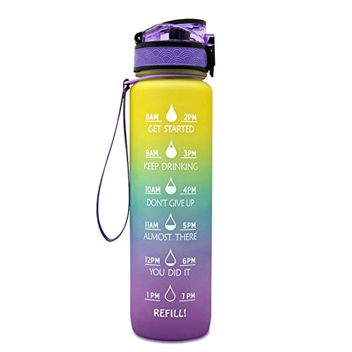 Sports Water Bottle with Time Marker Tritan Plastic Leakproof Drinking Bottle BPA Free with Filter Locking Flip Flop Lid Fitness Workout Water Bottle (Style : A)