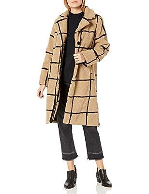 Jessica Simpson Women's Fashion Outerwear Jacket, Windowpane Sherpa Beige/Black, M from Jessica Simpson