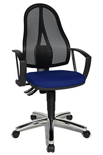 Topstar Point 60Net Silla giratoria para Oficina (Incluye reposabrazos Fijo) A1, Tela, Azul y Negro, 54 x 47 x 109 cm