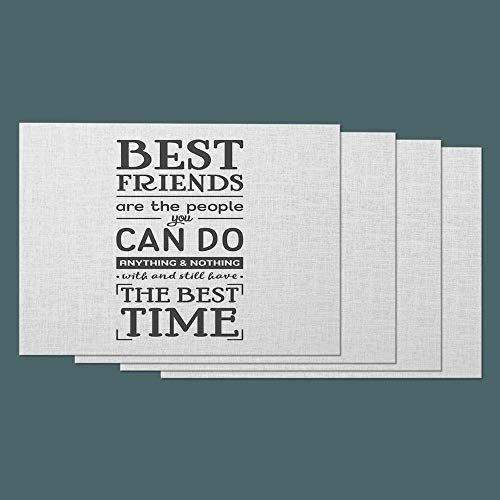 Moslion Friendship Quote Place Mats Set of 4. Best Friends are The People You Can Do Anything & Nothing Word Cotton Linen Placemats 12x18 Inch for Dinner Kitchen Table Dining Room