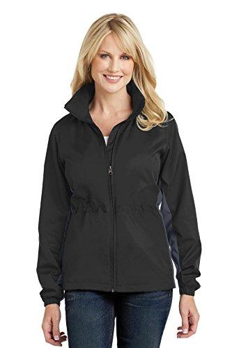 Port Authority® Ladies Core Colorblock Wind Jacket. L330 Black/ Battleship Grey