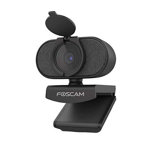Foscam W41 Webcam 1080P Full HD mit Mikrofon, Webcam für Video Chat und Aufnahme, kompatibel mit Windows, Linux, Mac und Android, Blickschutzverschluss … (W41 Super HD 2K)