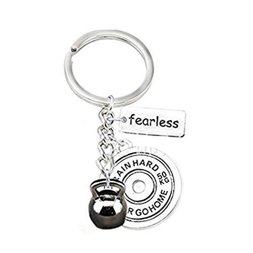 Handmade accessories Schlüsselanhänger mit Kugelhantel und Hantelscheibe, furchtloser Charm, Übungs-Schlüsselanhänger