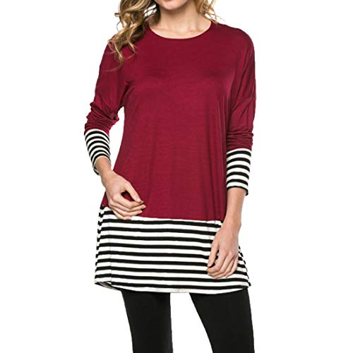 Zytyeu Women T-Shirt Women Blouse Elegant Round Neck Casual Comfortable Soft Cotton Blend Loose Stripe Splicing Simple Women Tops Long Sleeve Elegant Women Shirts Red. 3XL