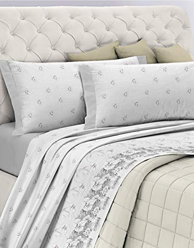 GEMITEX Juego de sábanas Fabricado en Italia de Franela de 100% algodón, para Cama de Matrimonio, línea Enjoy, diseño G12 Variante 13 Gris, con Tratamiento antipilling