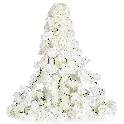 YQing 2 Stück Künstlich Kirschblüten Girlande, unechte Kirschblüten Blumen Reben Sakura Deko für Garten Zuhause Hochzeit Party Tisch Hintergrund Bogen Wand Dekor