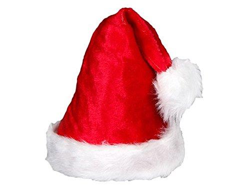 Cappello da Babbo Natale con Pon Pon e Bordo in felpa (wm-91) Rosso Bianco per Adulti Uomo Donna di Alsino
