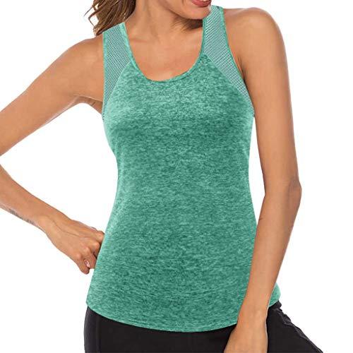 Masrin Gilet de yoga pour femme - Débardeur de fitness sans manches - En maille filet respirante XL vert