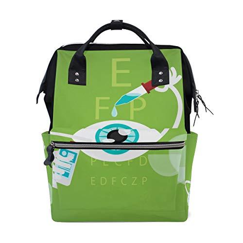 Alinlo Wickeltasche mit lustigem Cartoon-Augentropfen, große Kapazität, Multifunktions-Rucksack für Reisen