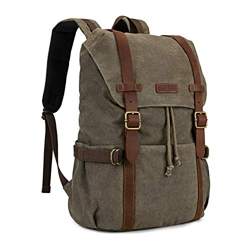 Kattee Canvas Leather Backpack Hiking Backpack Travel Rucksack School Bag