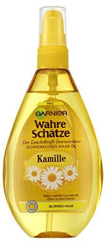 Garnier Wahre Schätze Schwereloses Haar-Öl mit Kamille, intensiviert die Leuchtkraft von blondem Haar, pflegend, mit Blütenhonig, 3er-Pack (3 x 150 ml)