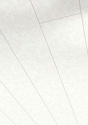 Parador Wand & Decke Style - Floral Weiss Dekor - Dekorpaneele feuchtraumgeeignet, einfache Klick-Montage - 1274 x 165 x 10 mm