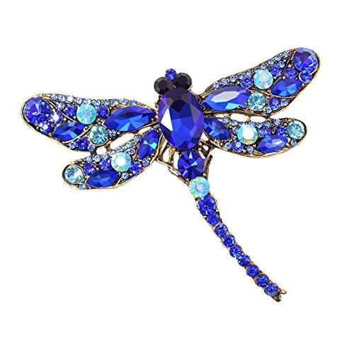 DWSLY Broche de Moda Cristalino Retro Broche de la libélula de Las Mujeres Cubren Grandes Broche de Accesorios de Vestir de Insectos Pin joyería de Moda Linda para Damas Regalos navideños