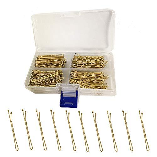 TOKERD 300 Stück Blond Haarnadeln mit Aufbewahrungsbox Gold Bobby Pins für Mädchen und Frauen