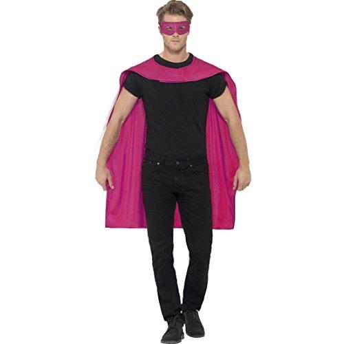 Amakando Superheld Kostüm Superheldenumhang & Maske pink Helden Kostüm Erwachsene Superman Umhang und Augenmaske Superhelden Cape Outfit Superhero Karnevalskostüm