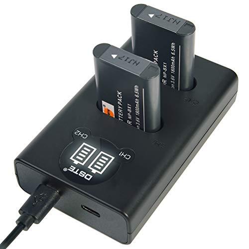 DSTE NP-BX1 Batería Recargable (Paquete de 2) y Cargador USB Dual LED...