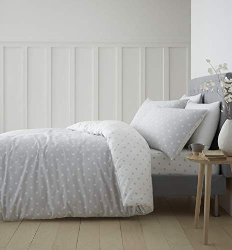 Catherine Lansfield Dotty Brushed Cotton Double Duvet Set Grey