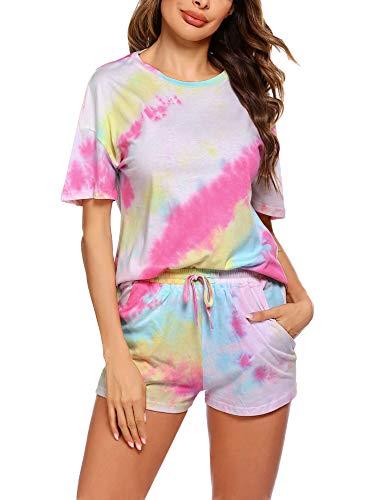 Unibelle Damen Nachthemd Hausanzug Kurzarm Rund Ausschnitt mit Tie-Dye-Muster...