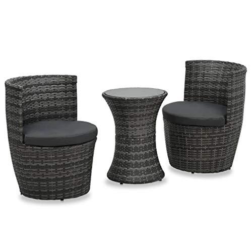 vidaXL Bistroset 3-TLG. mit Auflagen Balkonset Gartenmöbel Sitzgruppe Balkonmöbel Garnitur Gartenset Tisch mit 2 Stühle Poly Rattan Grau