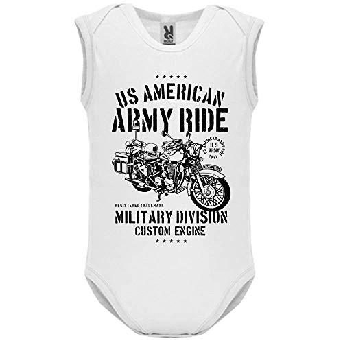 LookMyKase Body bébé - Manche sans - Army Ride - Bébé Garçon - Blanc - 12MOIS