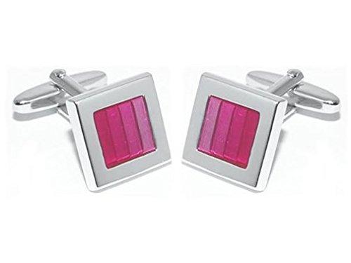 TEROON Damen-Manschettenknöpfe rosa Kaltemaileinlage