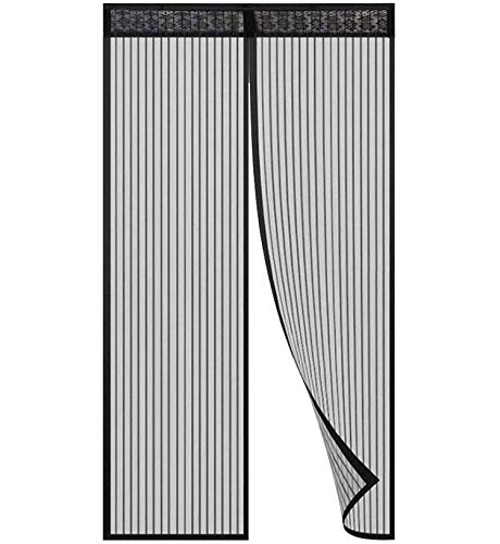 Hiveseen - Zanzariera per porta magnetica, 28 magneti ultra seal, 120 x 220 cm, chiusura automatica, montaggio facile, per porta d'ingresso interno/cortile / scorrevole, colore: nero