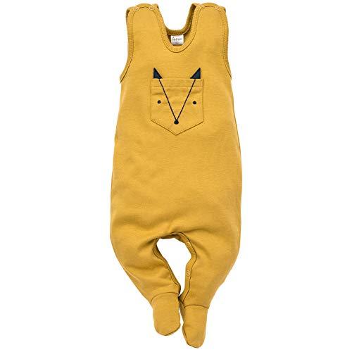 Pinokio - Secret Forest - Baby Jungen Overalls Strampler Unisex 100% Baumwolle Schlafanzug Gelb Marineblau Babyspielanzug ärmellos 56 62 68 74 cm (56 cm, Gelb)