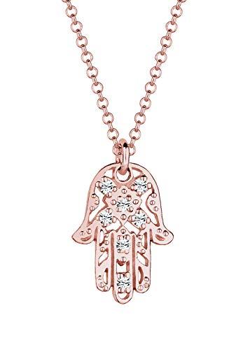 Elli señorías-collar con colgante mano de Hamsa Rose 925 cristal de plata oro brillantes 45 cm - 0108521115_45