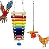 mellystore Xilófono de Pollo y Pincho de Loro, Alimentador de pájaros de Acero Inoxidable, Juguete Gallina Musical Xilófono 8 Llaves de Metal con Campanas, para Gallinas Mascota Pollo Pájaro