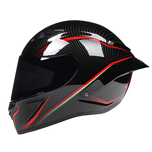 Woljay Integralhelm Motorradhelme Rennsport offroad moto Straßenradhelm (Rote Linie, L)