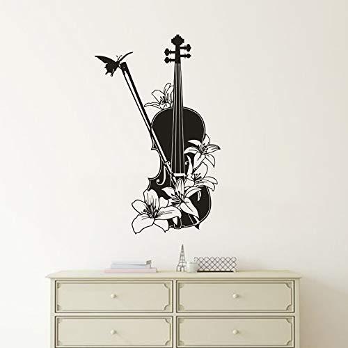 wopiaol Uil Muursticker naam thema muursticker viool patroon muziek instrument viool met vlinder bloemen 57X91Cm
