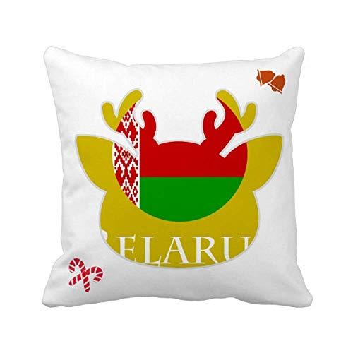 OFFbb-USA Weißrussland, Osteuropa Minsk Flagge, Weihnachten, Wurfkissen, quadratischer Bezug
