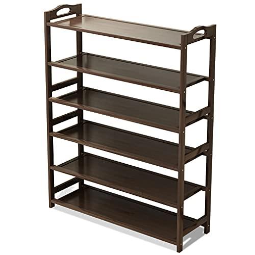 Zapatero de bambú, organizador de almacenamiento de 6 niveles, soporte para zapatos que puede contener 24 – 30 pares de zapatos. Se puede utilizar en dormitorios, balcones, pasillos, sala de estar
