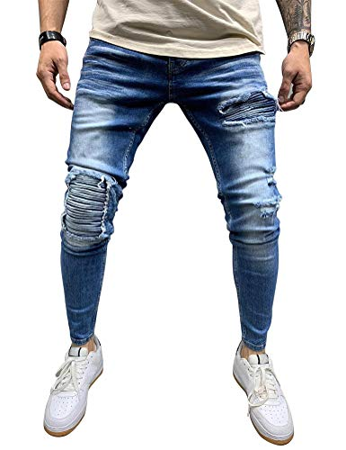 IDEALSANXUN Mens Stretch Skinny Ripped Jeans Biker Jean Denim Pants (Dark Blue, 32)