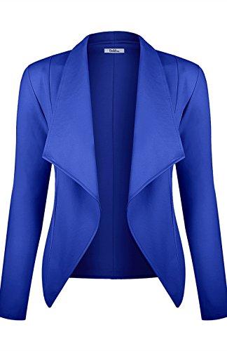 BodiLove vrouwen met lange mouwen Casual werk Open Drape Ponte Blazer jas