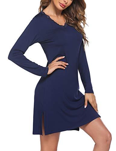Ekouaer Women Sleepwear Nightgown Lace Sleepshirt Dress V Neck Long Sleeve Nightshirt Soft Pajamas Gown Lougewear Navy Blue