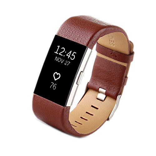 PINHEN Cinturini Compatibile per Fitbit Charge 2 Cinturino - Charge2 Pelle Braccialetto Fitness Accessori Cinturino di Ricambio per Fitbit Charge 2 (Brown)