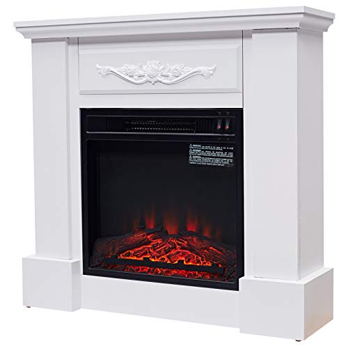"""HOMCOM Freestanding Electric Fireplace Heater with Mantel, Wood, 1400W, 30"""" H, Beige"""