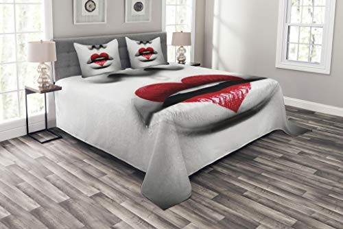 Lunarable Red and Black Bedspread, Fashion Model Vivid Woman Lips with Love Heart Lipstick Makeup Art, Decorative Quilted 3 Piece Coverlet Set with 2 Pillow Shams, Queen Size, Grey White
