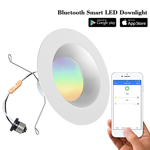 iLintek Bluetooth Smart LED Downlight, 6 inch Multicolor Mesh Recessed Light Color Changing RGBW Light 2700-6500K, Bluetooth App Smartphone Controlled, Wake Up Lights. 13W (85W Eq.) - No Hub Needed