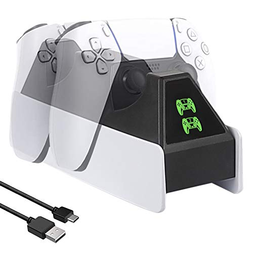 PS5 Controller Charger Station, Shayson Upgraded Charging Dock for Playstation 5 Dualsense Controllers with LED Indicators, Fast Charging, Safety Chip Protection